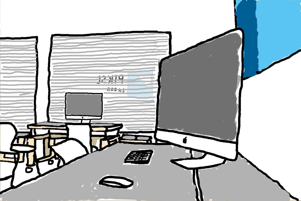 Zeichnung PIKSL Labor geschlossen Innenraum dunkle Computerbildschirme