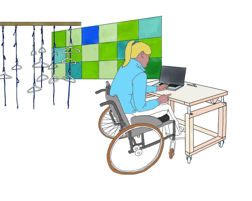 PIKSL Labor Bielefeld; Zeichnung Person im Rollstuhl vor einem Computer. Im Hintergrund Garderobe und Wandfilzkacheln.